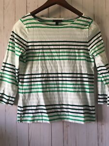 J-Crew-Women-039-s-White-and-Green-Striped-3-4-Sleeve-Shirt-Sz-S-100-Cotton