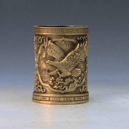 CHINESE BRASS HANDMADE CARVED EAGLE BRUSH POT PEN VASE GIFT TO TEACHER STUDENT