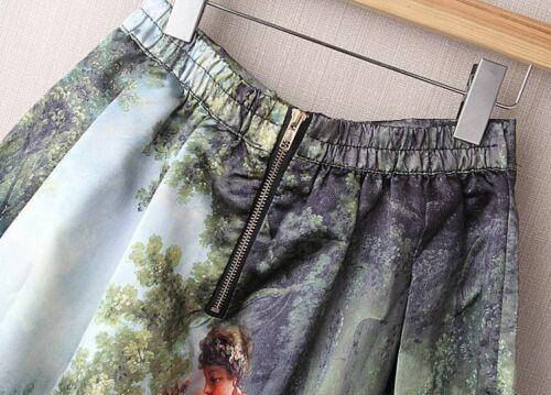 Femmes Longueur Genou peinture à l/'huile Design Taille Haute Plissée Patineuse Jupes Zip Fermeture