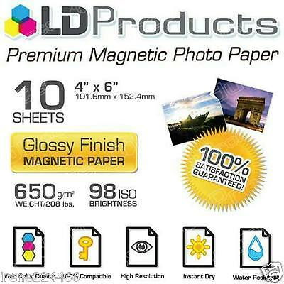 "5 Sheets 4"" x 6"" Glossy Magnetic Photo Paper Refrigerator Bumper Stickers"