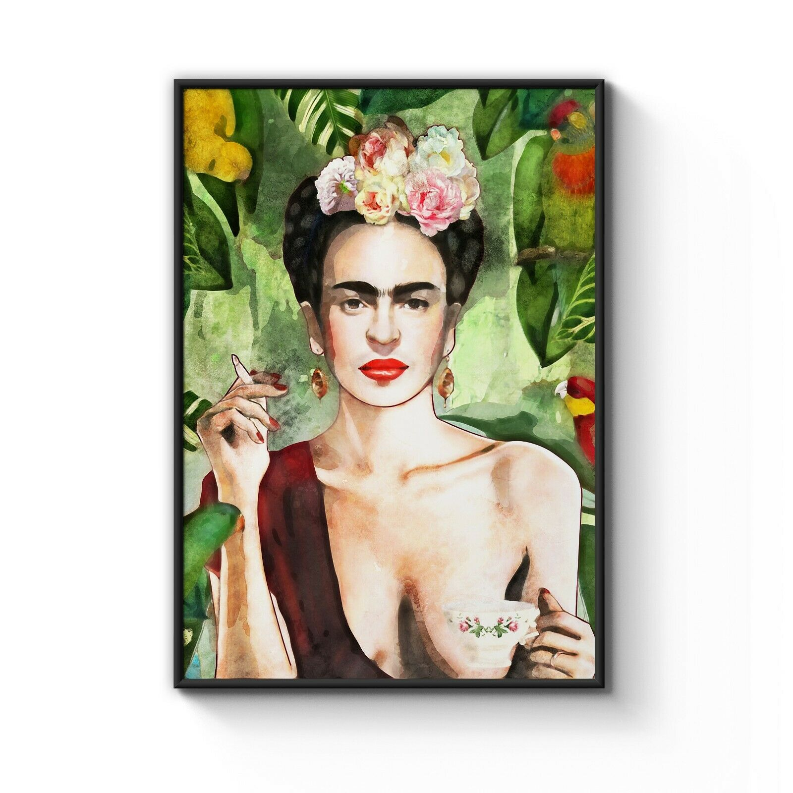 Frida Kahlo Con Amigos Unique Original Art Poster Print - A4 A3 A2 A1 A0 Framed
