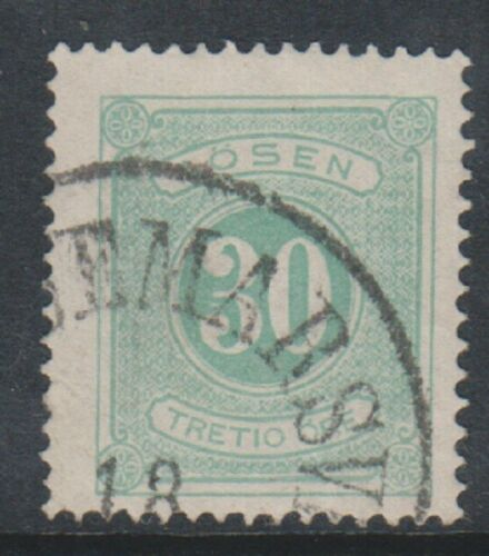 Sweden 187489, 30 ore Green Postage Due stamp Perf 14 GU SG D35