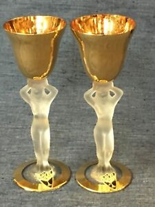 PAIR-OF-BAYEL-FRANCE-CRYSTAL-amp-GOLD-NUDE-WOMAN-CORDIAL-GLASSES-ORIGINAL-LABELS