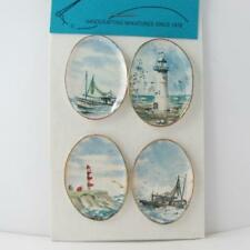DOLLHOUSE Plate Pair Lighthouses in Winter CDD233 By Barb Wall Art Miniature