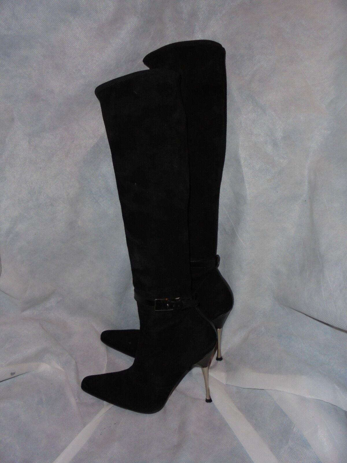 Diego Dolcini Mujeres Cuero Negro Elástico Knee High bota Talla UK 2.5 EU 35 en muy buena condición