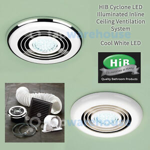 Bathroom Led Lights With Extractor Fan hib cyclone led light bathroom shower ceiling ventilation system