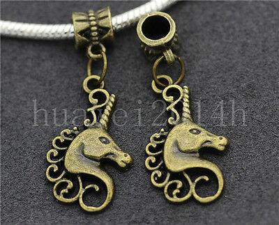 6/30/100pcs Antique Bronze unicorn head Bulk Lots Dangle European Charm Bracelet