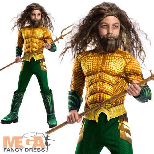 Deluxe AQUAMAN Ragazzi Costume Film Supereroe Bambini Mondo Libro Giorno Costume NUOVO