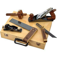 5 Pc Woodworking Tool Kit In Wooden Case: 2 Planes Tri-square 2 Gauges D4063