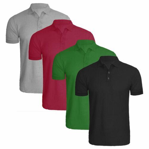 Pack of 4 Mens Polo Shirt Short Sleeve Plain Pique Top Designer TShirt Tee Lot