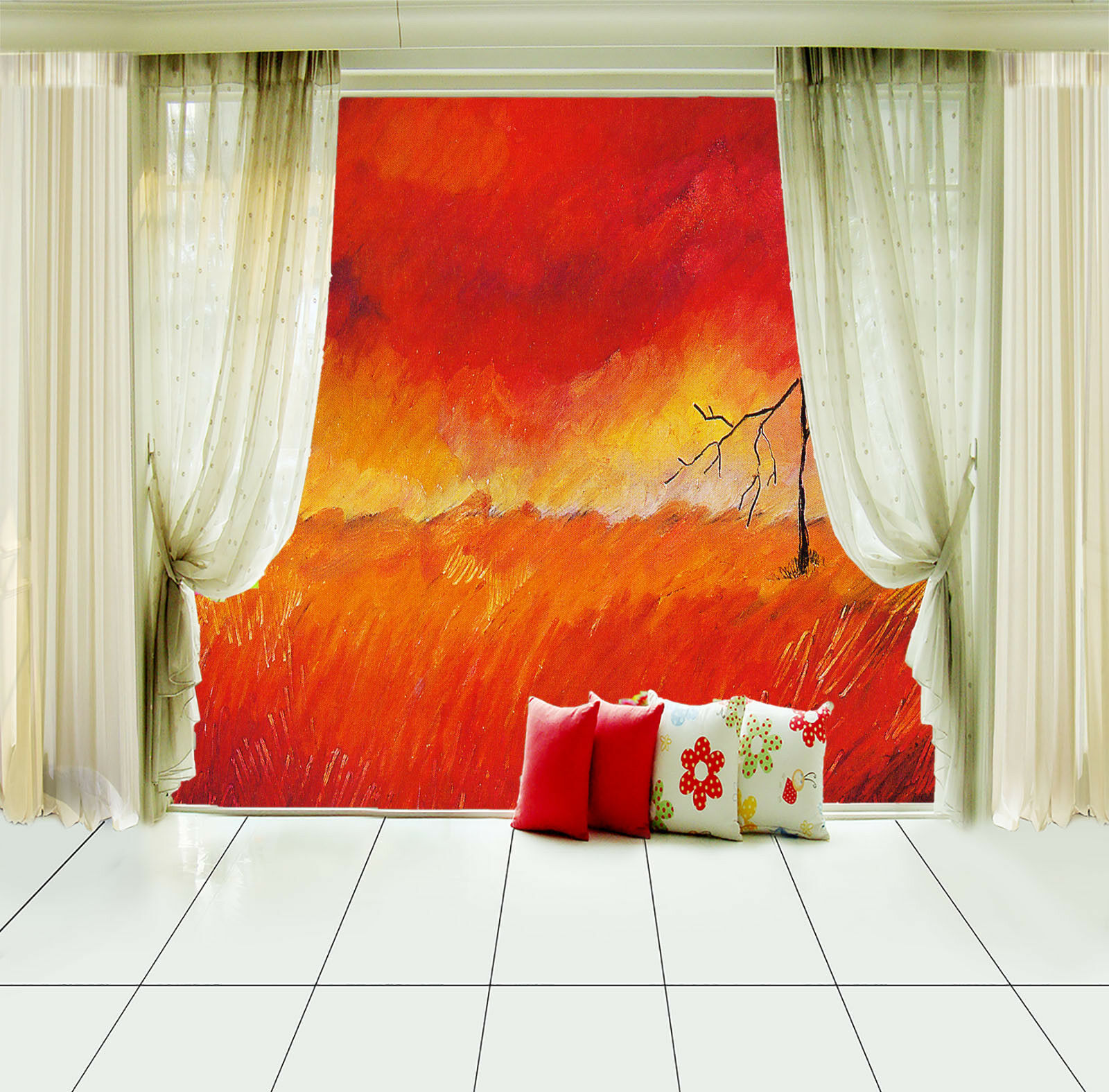 Papel Pintado Mural De Vellón red Fuego Bosque 123 Paisaje Fondo De Pansize ES