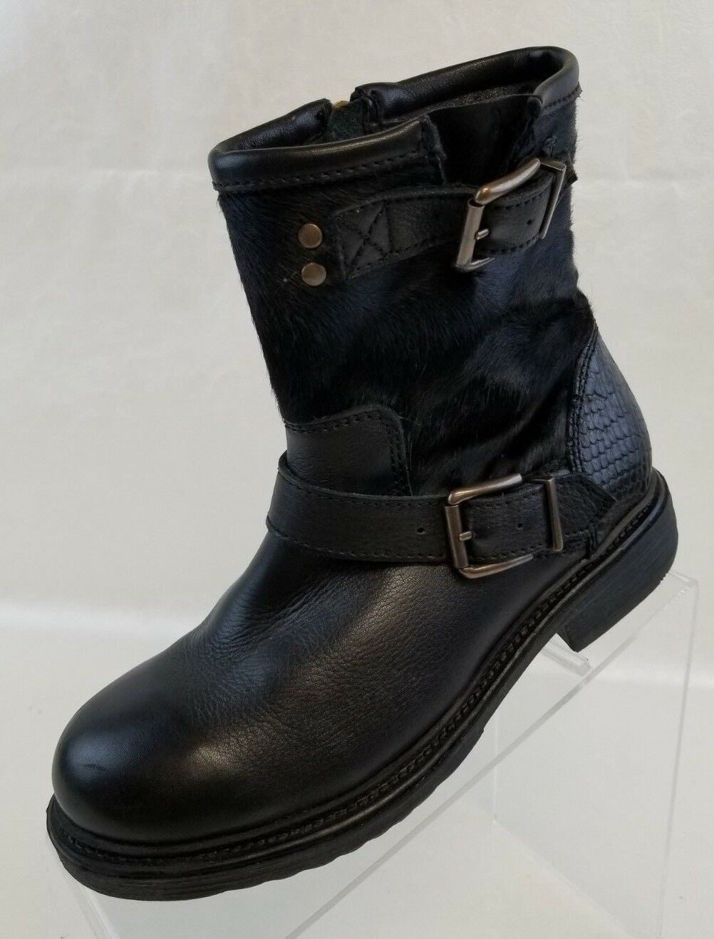 Bronx Ankle Boots Buckle Zip Womens Faux Fur Black Leather shoes Sz EU 36 US 5.5