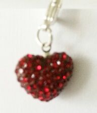 SPARKLY SHAMBALLA DARK RED CRYSTAL 15mm HEART CLIP ON CHARM- JANUARY BIRTHSTONE