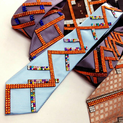 MULTICOLOR RHINESTONES FOR DANCING Details about  /ELEGANT ONE OF A KIND TIES//W ORANGE SILVER