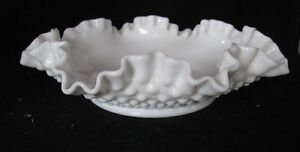Fenton-Hobnail-Double-Crimped-Edge-Milk-Glass-8-034-Bon-Bon-Dish-Bowl-Vintage