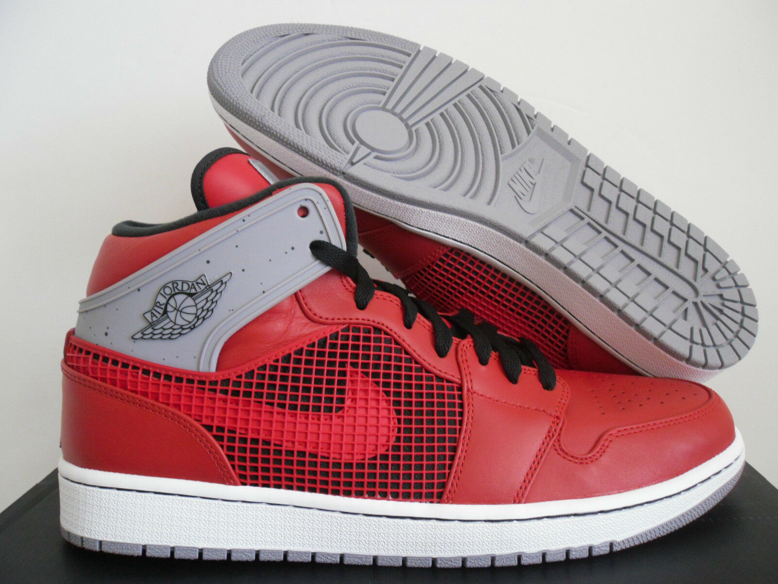 NIKE AIR JORDAN 1 RETRO 89 QS FIRE Rouge-CEMENT Gris-Blanc SZ 13 [599873-602]