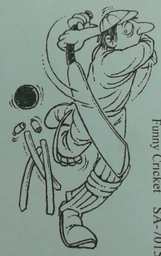 Unmounted rubber stamp Funny Cricketer