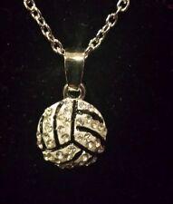 New Volleyball Rhinestone 1/2 inch Charm Necklace