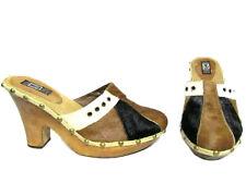 ANDREW STEVENS Boho Brown Black Tan Pony Hair Studded Wood Clog Sandals 8.5