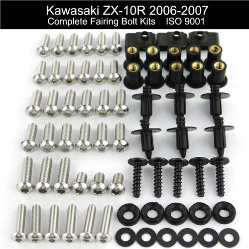 Complete Fairing Bolt Kit Bodywork Screws For KAWASAKI ZX10R 2006-2007 Stainless