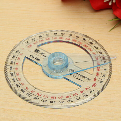 Plastic 360 Degree Protractor Ruler Angle Finder Swing Arm School Office HQ Kit