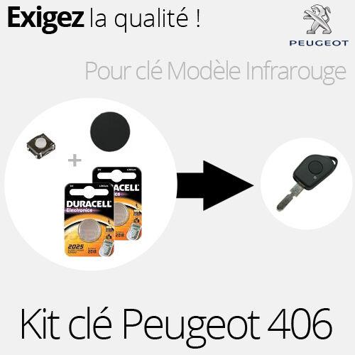 Kit clé infra rouge Peugeot 406 Bouton 2 piles Duracell KIT25 switch