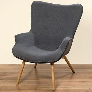 Ausgefallener Sessel 90cm Grau Stoff Holz Clubsessel Loungesessel