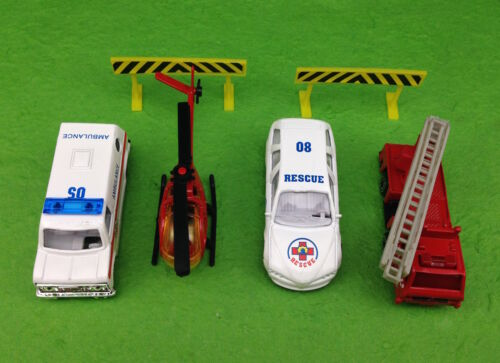 Emergency Vehicles Cake Topper Set Helicopter Fire Engine Ambulance Rescue Decor