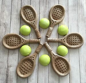 6 Tennis Rackets Tennis Balls Edible Cupcake Toppers Party