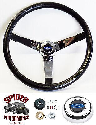 """1970-1977 Ford pickup steering wheel BLUE OVAL 13 1//2/"""" WALNUT 4 SPOKE"""