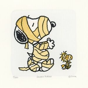 Snoopy-Woodstock-Peanuts-Sowa-amp-Reiser-Art-D-500-Hand-Painted-Etching-Mummies