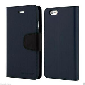 iPhone-5-5s-SE-2016-Genuine-Goospery-Navy-Blue-Flip-Case-Wallet-Cover-FREE-Post