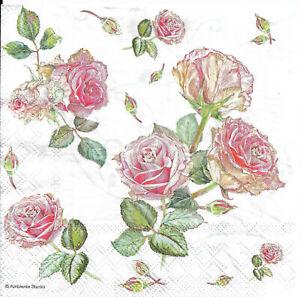 Lot de 2 Serviettes en papier Fleurs roses Decoupage Collage decopatch