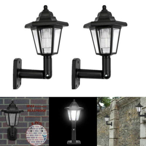 2PCS Solar Hexagonal Outdoors LED Palace Lights Garden Wall Hanging Night Lamps
