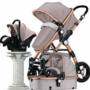 3 In 1 Luxury Baby Stroller High View Pram Foldable Pushchair