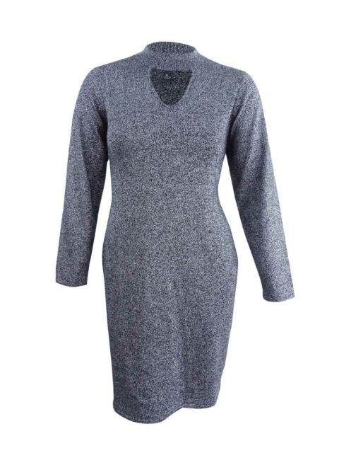 44c044984f60 Connected Women's Metallic Mock-Neck Sweater Dress (XL, Black/Silver)
