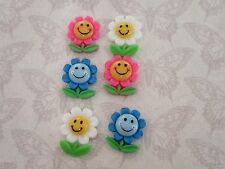 Resin FlatBack x6 Flower Daisy Cabochon 3D Phone Decoden Kawaii Craft Scrapbook