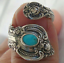 Native-American-Indian-Jewelry-Silver-Turquoise-Open-Vintage-Ring-Adjustable thumbnail 1