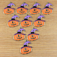 10pcs Halloween pumpkin w/ purple hat Metal Charm Pendants Crafts Kids Gifts BIN