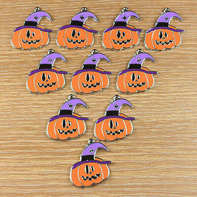10pcs Halloween pumpkin w/ purple hat Metal Charm Pendants Crafts Kids Gifts BIN