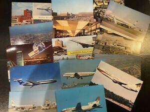 AIRCRAFT POST CARDS - VARIOUS AIRLINES / AIRPORTS - 2 USED - GOOD