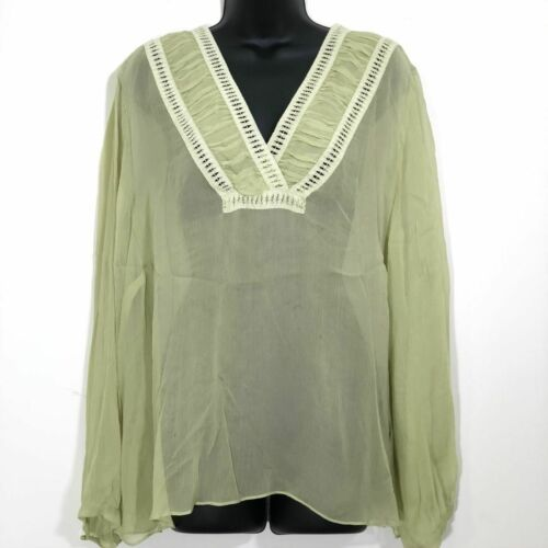 Lane Bryant Size 22/24 Sheer Silk Blouse Pistachio