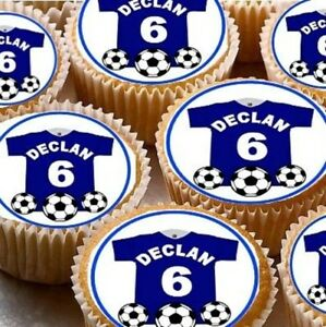 PERSONALISED FOOTBALL SHIRT EDIBLE CAKE TOPPERS X24 BLU eBay