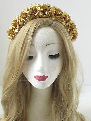 Peach Gold Flower Hair Crown Ibiza Boho Headband Garland Festival Rose Vtg W30