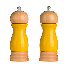 Salt And Pepper Mill Set Rubberwood Yellow Salt Pepper Shaker Pot High Gloss