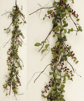 Primitive Country Cottage Herb Leaf Burgundy Berry Garland Vine Swag
