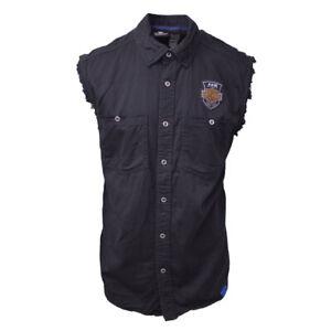 Harley-Davidson Men's Black Denim Sleeveless Vest