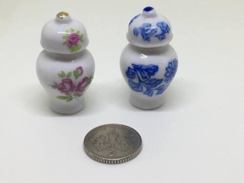 Maison de poupées miniature 1:12th échelle Set Accessoire de 2 à motifs ginger jars #2