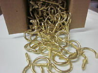 """~ 144 ~ CUP HOOKS BRASS COATED 1"""" X 9/16"""" X 1-7/16"""" HOOK HANGING SCREW PLANTS"""