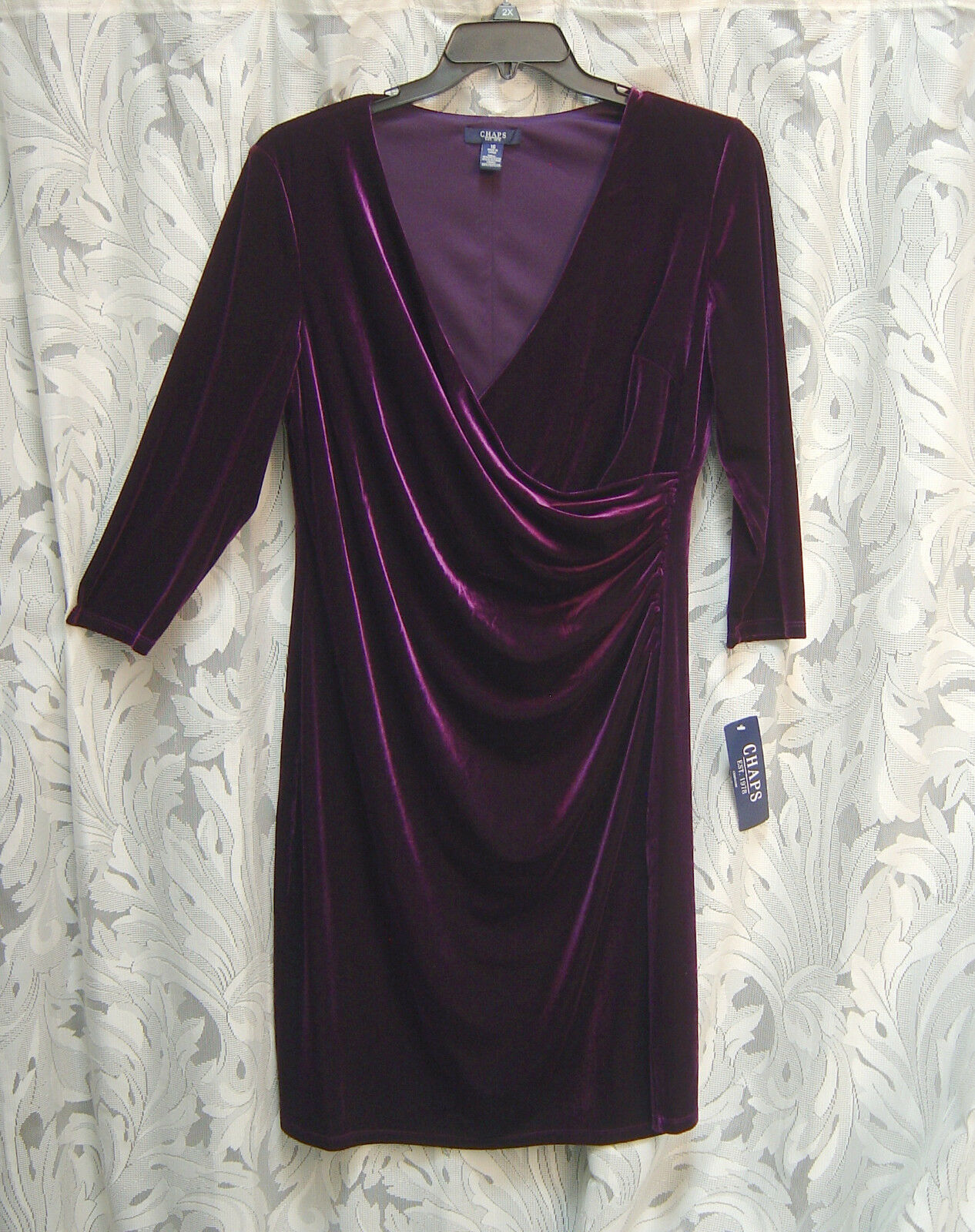 CHAPS RALPH LAUREN PURPLE EGGPLANT FAUX WRAP SOFT VELOUR STRETCH DRESS16XLNWT